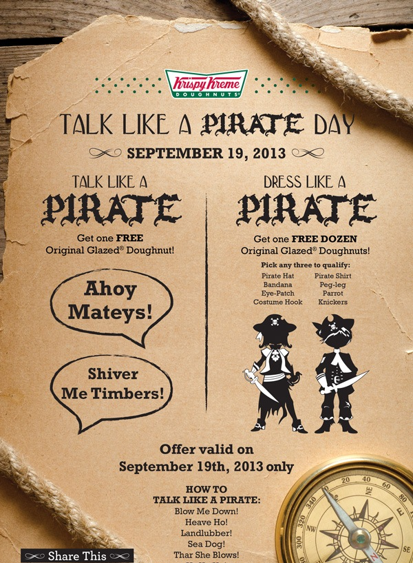 Ahoy! Get Your Free Bounty Tomorrow #TalkLikeAPirateDay